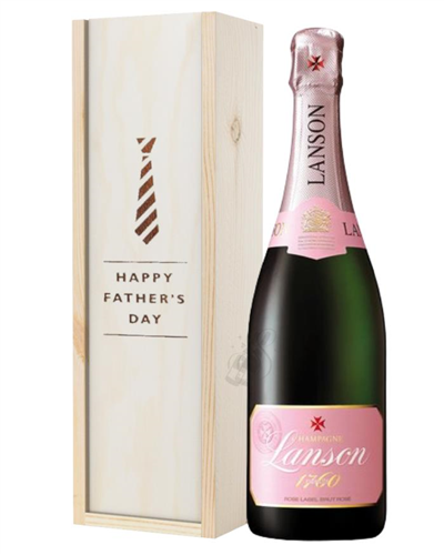 Lanson Rose Champagne Fathers Day Gift In Wooden Box