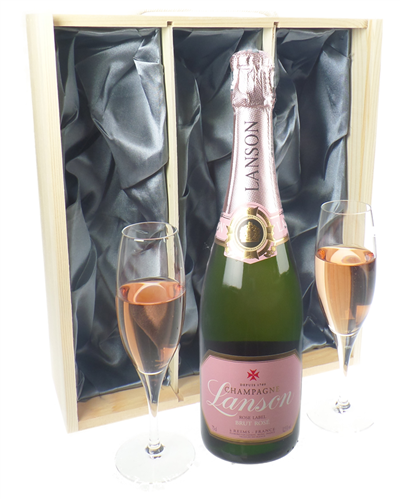 Lanson Rose Champagne Gift Set With Flute Glasses