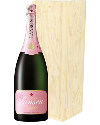 Lanson Rose Champagne Magnum 150cl in Wooden Gift Box