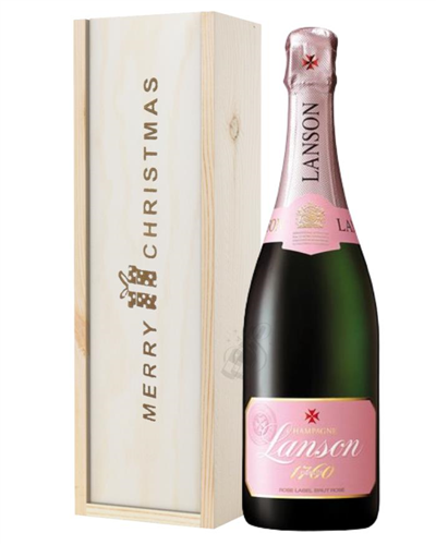 Lanson Rose Champagne Single Bottle Christmas Gift In Wooden Box
