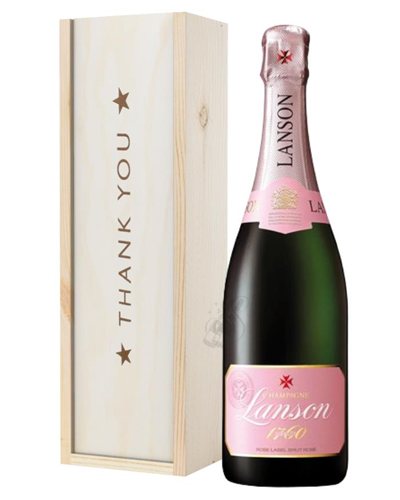 Lanson Rose Champagne Thank You Gift In Wooden Box