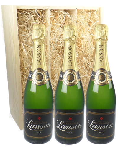Lanson Three Bottle Champagne Gift in Wooden Box