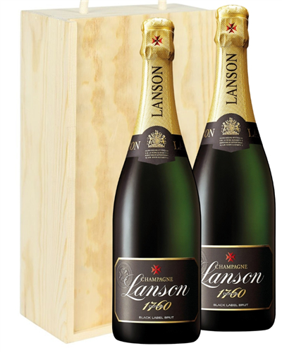 Lanson Two Bottle Champagne Gift in Wooden Box