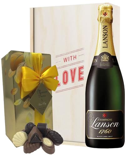 Lanson Valentines Champagne and Chocolates Gift Box