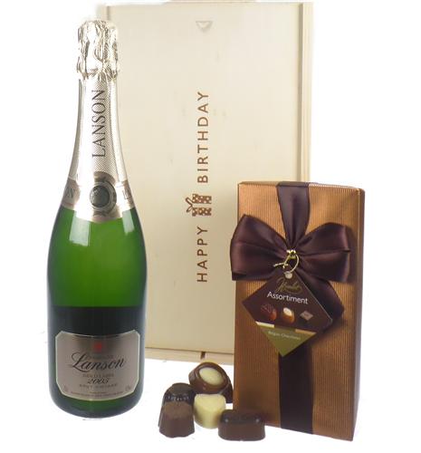 Lanson Vintage Champagne and Chocolates Birthday Gift Box