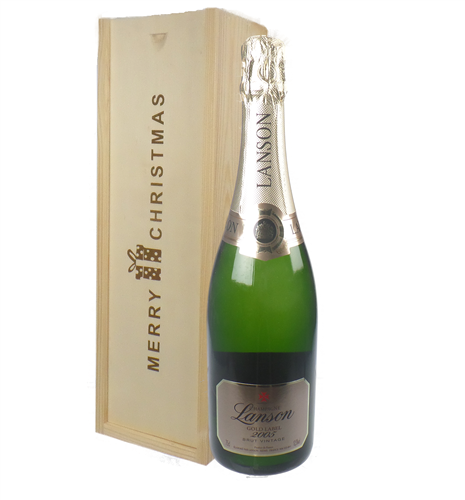 Lanson Vintage Champagne Single Bottle Christmas Gift In Wooden Box