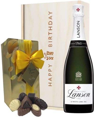 Lanson White Label Champagne and Chocolates Birthday Gift Box