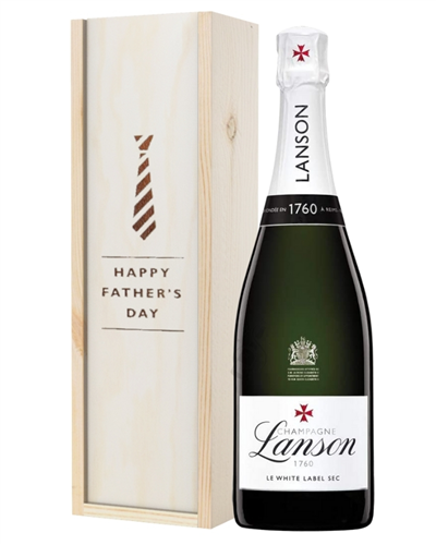Lanson White Label Champagne Fathers Day Gift In Wooden Box