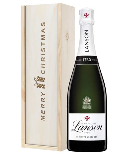 Lanson White Label Champagne Single Bottle Christmas Gift In Wooden Box