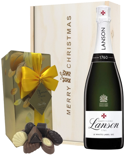 Lanson White Label Christmas Champagne and Chocolates Gift Box