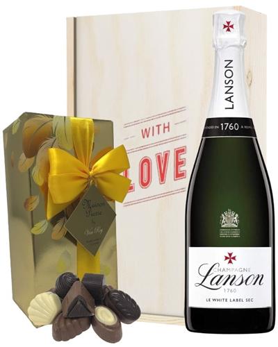 Lanson White Label Valentines Champagne and Chocolates Gift Box