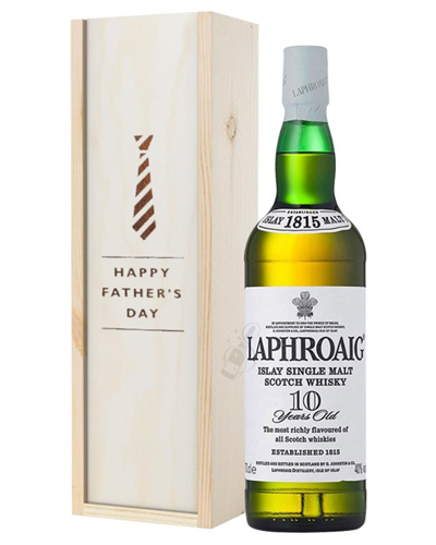 Laphroaig 10 Single Malt Whisky Fathers Day Gift In Wooden Box