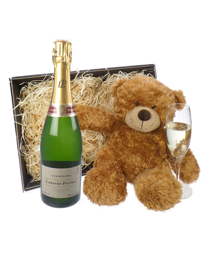 Laurent Perrier Champagne and Teddy Bear Gift Basket
