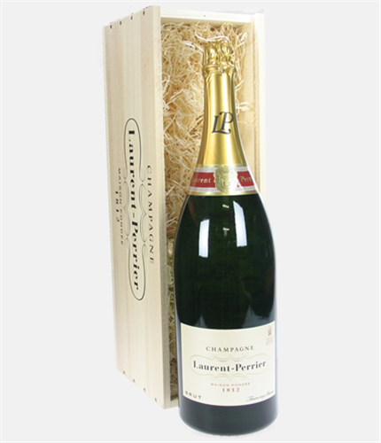 Laurent Perrier Champagne Jeroboam 300cl in Wooden Gift box