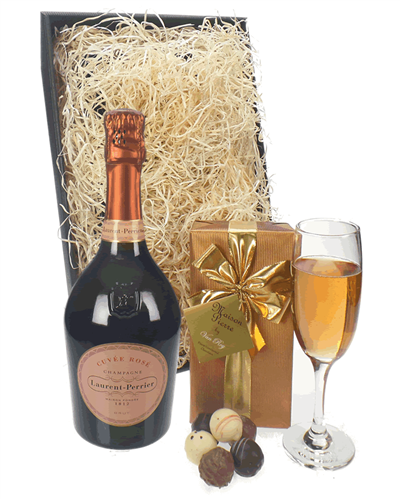 Laurent Perrier Rose Champagne and Chocolates Birthday Gift Box