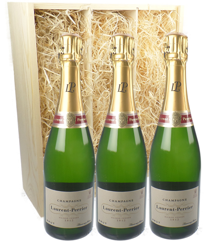 Laurent Perrier Three Bottle Champagne Gift in Wooden Box