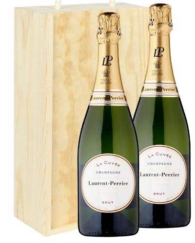 Laurent Perrier Two Bottle Champagne Gift in Wooden Box