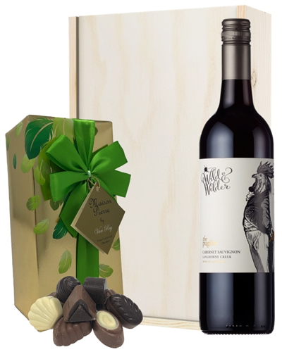 Limestone Coast Cabernet Sauvignon Red Wine and Chocolates Gift Set in Wooden Box