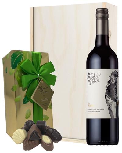 Limestone Coast Cabernet Sauvignon Red Wine and Chocolates Gift Set in Wooden Box