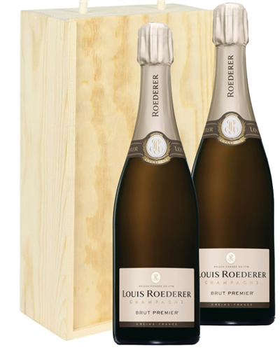 Louis Roederer Two Bottle Champagne Gift in Wooden Box