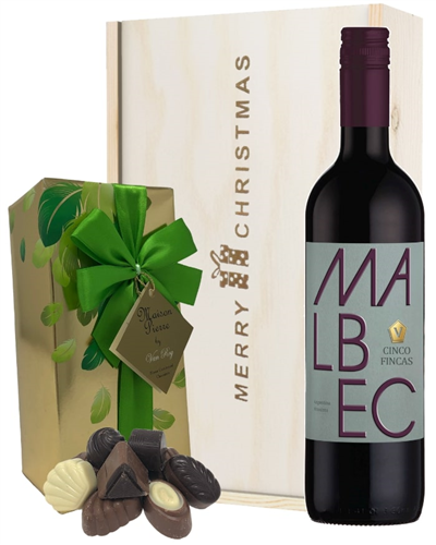 Malbec Christmas Wine and Chocolate Gift Box