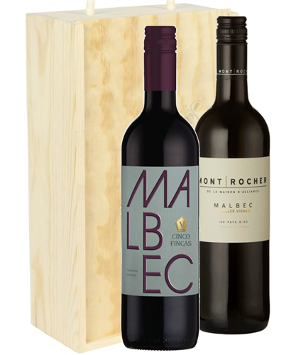 Malbec Mixed Two Bottle Wine Gift in Wooden Box