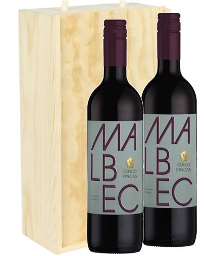 Malbec Two Bottle Wine Gift in Wooden Box