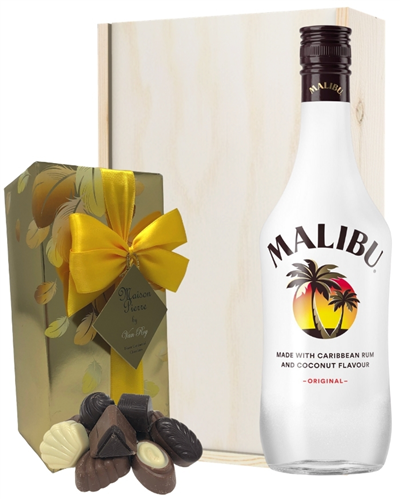 Malibu And Chocolates Gift Set in Wooden Box