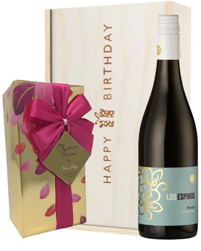 Merlot Red Wine and Chocolate Birthday Gift Box