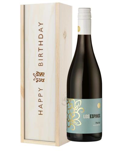 Merlot Red Wine Birthday Gift In Wooden Box