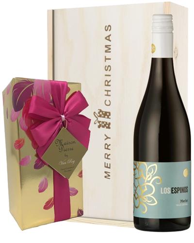 Merlot Red Wine Christmas Wine and Chocolate Gift Box