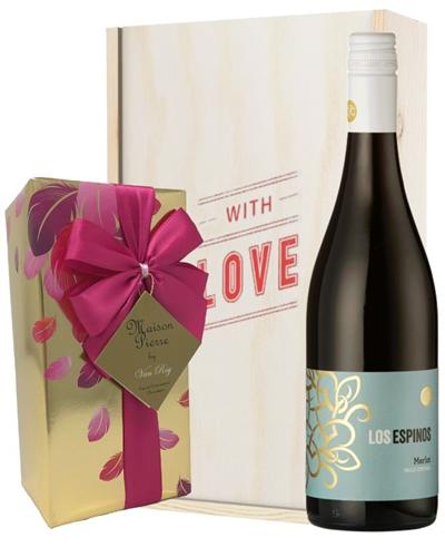 Merlot Red Wine Valentines Wine and Chocolate Gift Box