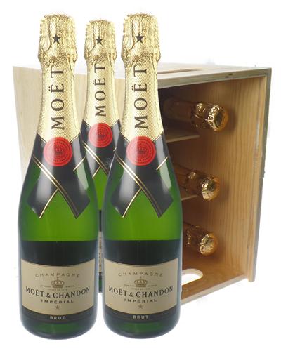 Moet & Chandon Champagne Six Bottle Wooden Crate