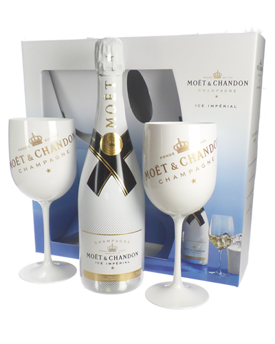 Moet and Chandon Ice Imperial Champagne Gift Set With Flute Glasses