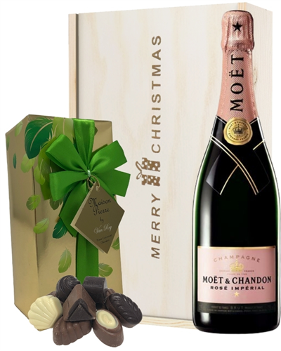 Moet & Chandon Rose Christmas Champagne and Chocolates Gift Box