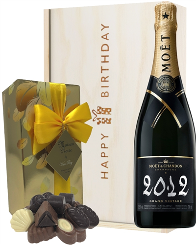 Moet & Chandon Vintage Champagne and Chocolates Birthday Gift Box