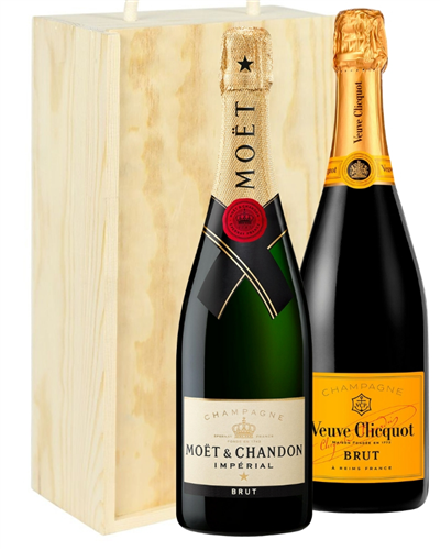 Moet And Veuve Two Bottle Champagne Gift in Wooden Box