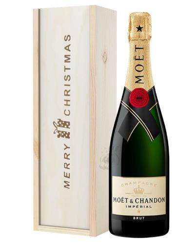 Moet et Chandon Champagne Single Bottle Christmas Gift In Wooden Box