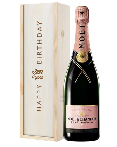 Moet et Chandon NV Rose Champagne Birthday Gift In Wooden Box