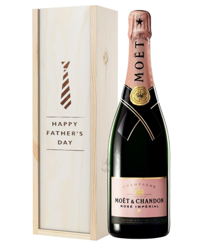 Moet et Chandon NV Rose Champagne Fathers Day Gift In Wooden Box