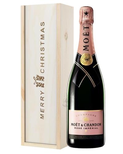 Moet et Chandon NV Rose Champagne Single Bottle Christmas Gift In Wooden Box