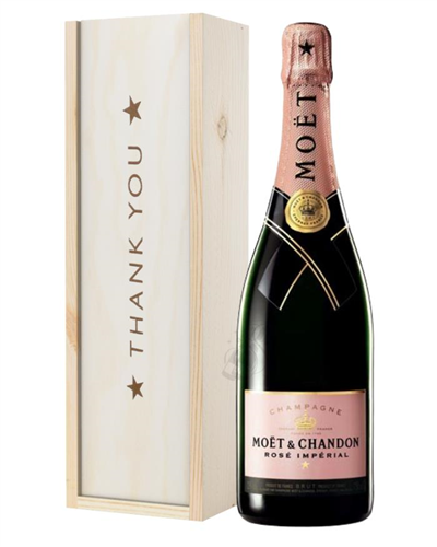 Moet et Chandon NV Rose Champagne Thank You Gift In Wooden Box