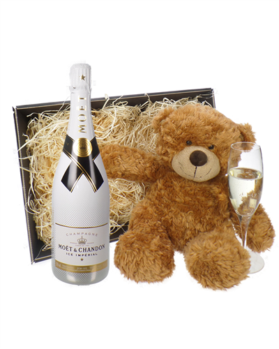 Moet Ice Imperial Champagne and Teddy Bear Gift Basket