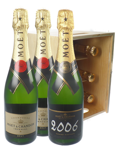 Moet NV and Moet Vintage Champagne Six Bottle Wooden Crate