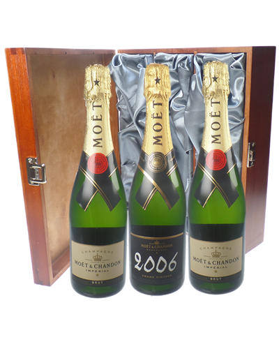 Moet NV and Vintage Champagne Triple Luxury Gift