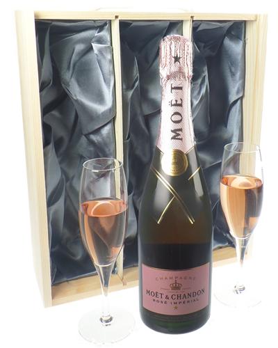 Moet Rose Champagne Gift Set With Flute Glasses
