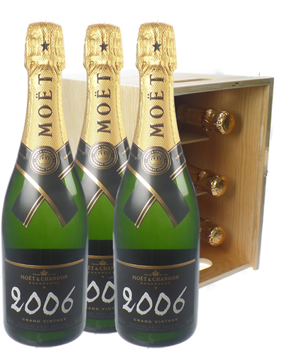 Moet Vintage Champagne Six Bottle Wooden Crate