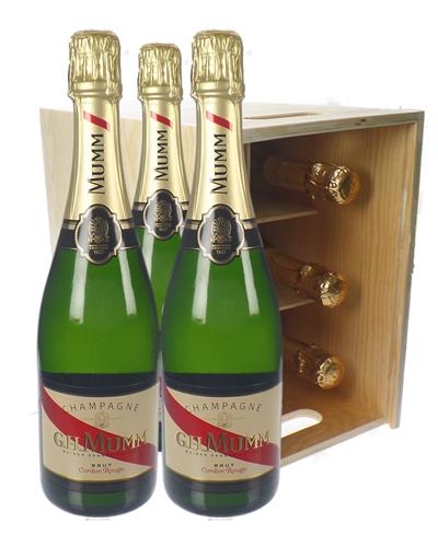 Mumm Champagne Six Bottle Wooden Crate