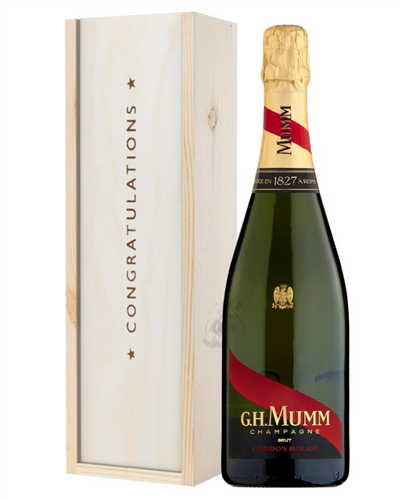 Mumm Cordon Rouge Champagne Congratulations Gift In Wooden Box