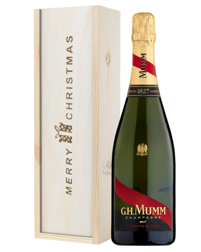 Mumm Cordon Rouge Champagne Single Bottle Christmas Gift In Wooden Box